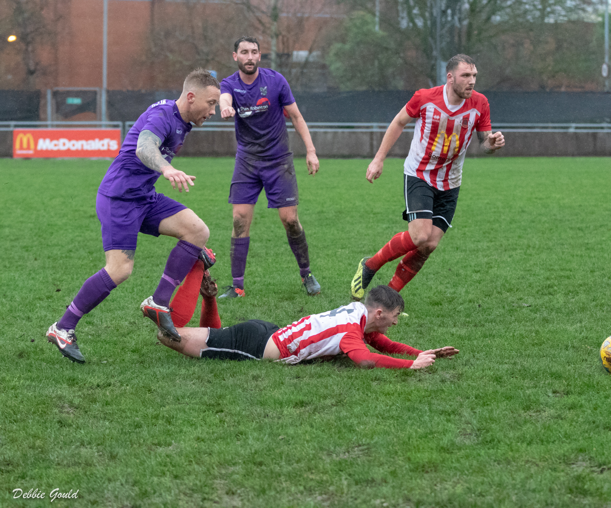 FLOORED: Bridgwater Town lost out to a late goal at leaders Willand Rovers. Pic: Debbie Gould