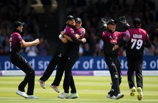 JUBILANT: Somerset celebrate the wicket of Tom Alsop at Lord's. Pic: Alex Davidson/SCCC