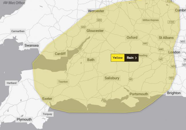 WARNING: The Met Office has issued a yellow weather warning for rain across Somerset. Picture - Met Office