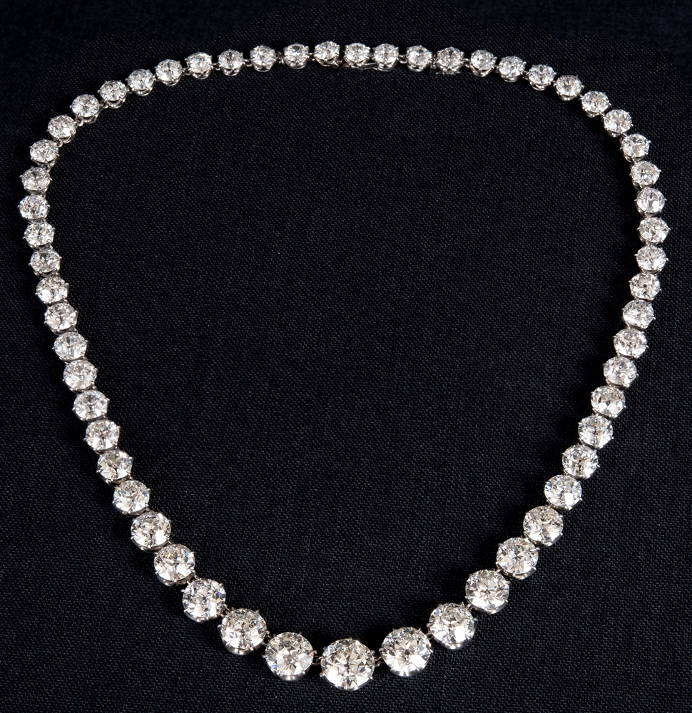 SPECTACULAR NECKLACE: This early mid 20th Century platinum and diamond riviere necklace was bought for £91,000 at Greenslade Taylor Hunt