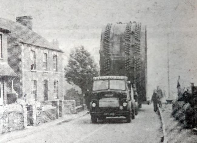 ENORMOUS: Materials being transported through Combwich in 1959 for the Hinkley Point scheme